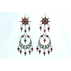 925 sterling silver long earring Tribal Jewellery with colour glass studded .