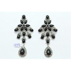 Fashion 925 Sterling Silver Earrings with Marcasite & Black Onyx Gemstones 3.0""