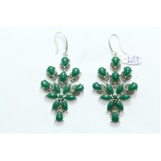 Fashion 925 Sterling Silver Earrings with Marcasite & Green Onyx Gemstones 2.7""