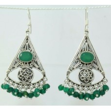 925 sterling silver earrings with green onyx Gemstones 1.5 inch