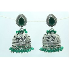 925 sterling Tribal silver earring Jhumkis Hallmarked Green Onyx Gemstone