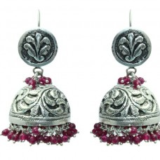 925 sterling Tribal silver earring Jhumkis Hallmarked Red Onyx Gemstone