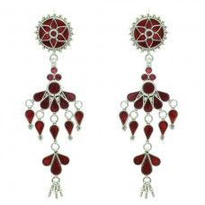925 sterling silver long earring Tribal Jewellery with colour glass studded