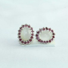 925 Sterling Silver Studs Earring with Natural Moonstone and Ruby Gemstones