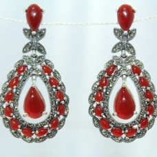 Fashion 925 Sterling Silver Earrings with Marcasite & carnelian Gemstones