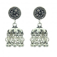 925 sterling silver Jhumki earring India Tribal Jewellery design 1.4 inch