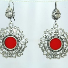 925 Sterling Silver Color Glass earring India Tribal Jewellery Design 2.2 inch