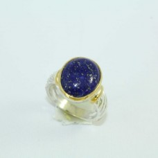 Silver and Gold combination Ring with Lapiz lazuli gemstone