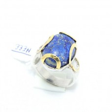 Silver and Gold Combination of ring with Natural Lapiz Lazuli Gemstone