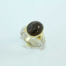 Silver and Gold combination Ring with Cat's eye gemstone