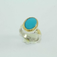 Silver and gold combination Ring with Natural Turquoise Stone