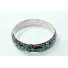 925 Sterling Silver Enamel Meena Bangle Elephant figure animal design on bangle