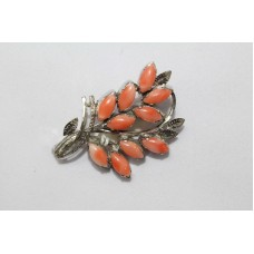 Hallmarked 925 Sterling Silver Brooch with Natural Coral Stones