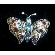 925 Sterling Silver Brooch with Real Blue Sapphire & Blue Topaz; Colored Zircons