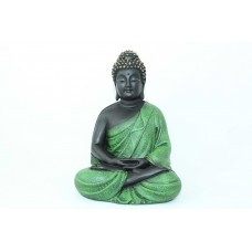 Rajasthan Gems Hand Crafted Buddhism God Meditative Buddha Idol Statue Poly Resin Home decorative (Green)