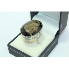 925 Sterling silver Women's ring Smoky Quartz stone,