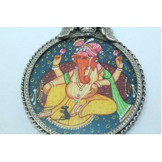 Tribal Temple Jewelry 925 Sterling Silver God Ganesha Painting Pendant