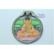 Tribal Temple Jewelry 925 Sterling Silver God Buddha Painting Pendant..