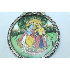Tribal Temple Jewelry 925 Sterling Silver God Krishna Radha Painting Pendant