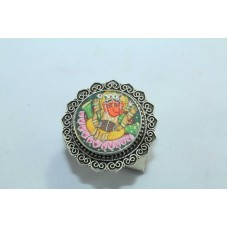 Tribal Temple Jewelery 925 silver God Ganesha Painting women's Ring