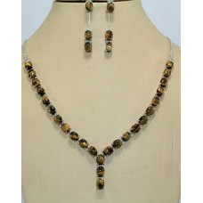 Handmade 925 stamped Sterling Silver Tigers eye Gemstone Necklace Earring Set