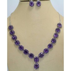 Handmade 925 stamped Sterling Silver Natural Amethyst Gemstone Necklace Earring Set