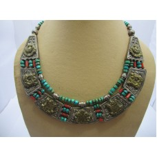 Silver & Brass Combo Necklace Antique Tibetan Tribal Jewelry, Corals & Turquoise