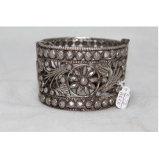 Vintage Antique Tribal Handmade Silver wide Cuff Bracelet openable filigree work