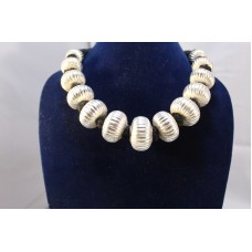 Vintage sterling silver 925 bead necklace with wax inside beads