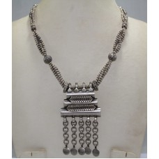 Antique Old Silver Tribal Necklace, Traditional Design Necklace India