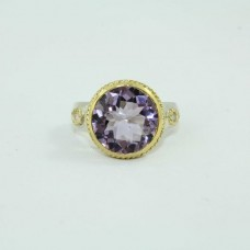 Silver and Gold combination Ring with Natural Amethyst Stone