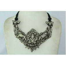 Antique silver Temple tribal jewelery Goddess Laxmi necklace Black thread