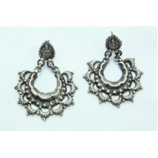 Antique Old Silver Indian Tribal Temple Jewelry Earrings Goddess Laxmi
