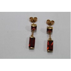Handmade 18 Kt Yellow Gold Earrings with Real Red Garnet Gemstones