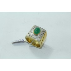 Combination of 18 Kt Gold & 925 silver Natural Emerald Cabochon and Diamonds