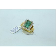 18Kt Yellow Gold Ring Natural Carved Emerald Stones Diamond Size 13