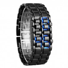 Stainless Steel Black Belt Blue LED Bracelet Sport Digital Watch - For Men, Boys