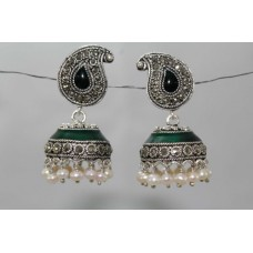 925 Sterling Silver Earrings Jhumkis Marcasite & Pearls Gemstones & Green Enamel