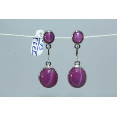 925 Sterling Silver Hanging Earrings Synthetic Star Sapphire Stone Length 1.5''