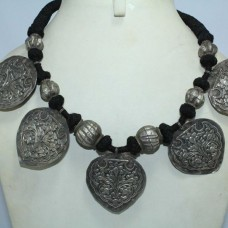 Antique India Alloyed Solid Silver Tribal Necklace with Silver Beads