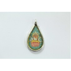 Antique Tribal Temple Jewelry Sterling Silver God Ganesh Painting Pendant ..