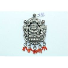 Tribal Temple Jewelry 925 Sterling Silver Goddess Laxmi Pendant with coral beads