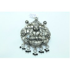 Tribal Temple Jewelry 925 Sterling Silver Goddess Laxmi Pendant with onyx beads