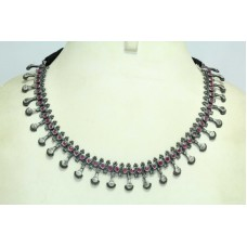 Silver Necklace vintage Antique Tribal Jewelry with Ruby stones