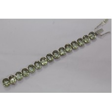 Fashion 925 Sterling Silver Real natural Green Amethyst Gemstone Bracelet, 8.7""