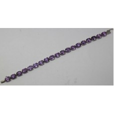925 Sterling Silver Real Natural Amethyst Bracelet Size 7.4""