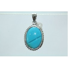 Handmade 925 Sterling Silver Pendant Natural Blue Turquoise Gemstone 1.2 inch
