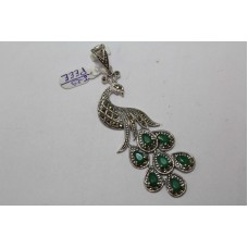 925 Sterling silver Pendant Marcasites Green Treated stone Peacock Bird Figure