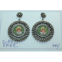 Traditional tribal temple 925 Sterling Silver Ganesha Painting Earrings.