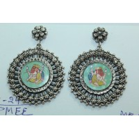 Traditional tribal temple 925 Sterling Silver Ganesha Painting Earring